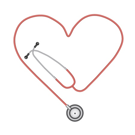 Image of a stethoscope isolated on a white background. Vector