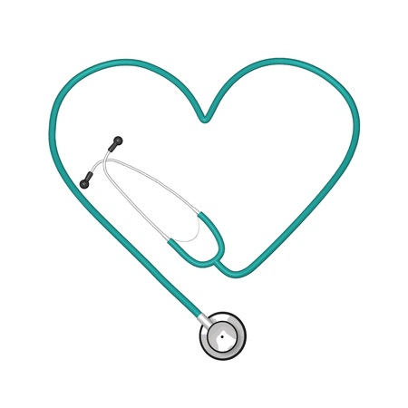 cpr: Image of stethoscope isolated on white background. Illustration