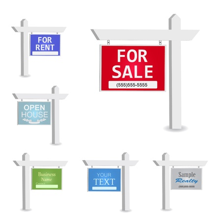 rental: Image of various colorful signs with editable text isolated on a white background.