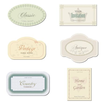 Image of various antique labels isolated on a white background.