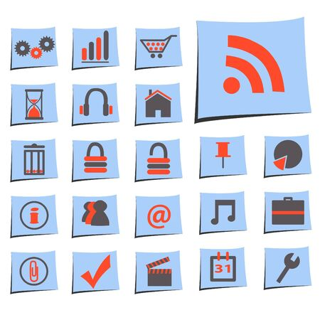 Image of various web icons on paper notes isolated on a white background. Stock Vector - 9555647