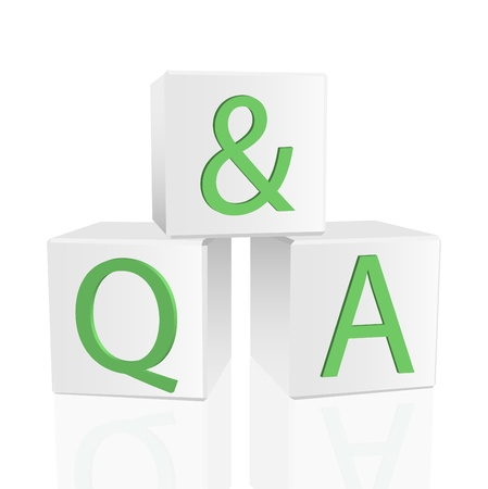 answer: Image of Q&A on 3D blocks isolated on a white background.