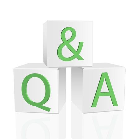Imagen de Q&A en 3D bloques aislados en un fondo blanco.