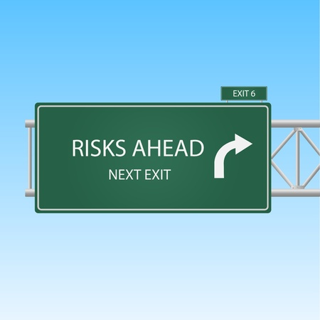 Image of a Risks Ahead highway sky against a blue sky background. Illustration