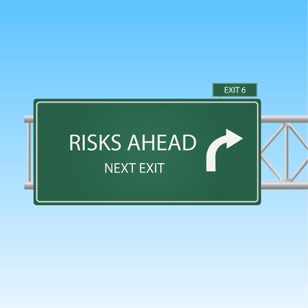 risks ahead: Imagen de un cielo riesgos por delante carretera contra un fondo de cielo azul.