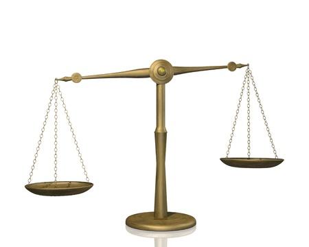 ungleichgewicht: Bild einer Waage auf einem wei�en Hintergrund. Illustration