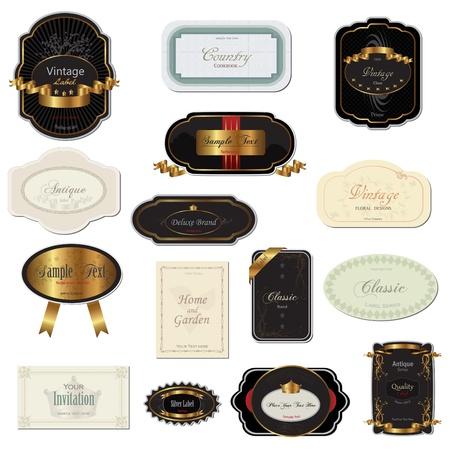 Afbeelding van verschillende vintage labels geïsoleerd op een witte achtergrond. Vector Illustratie