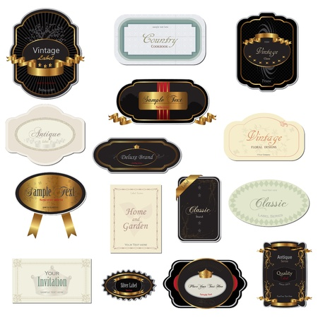 gold star: Image of various vintage labels isolated on a white background. Illustration