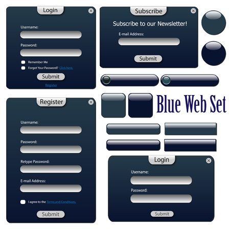 web site template: Image of a blue web forms, bars and buttons isolated on a white background.