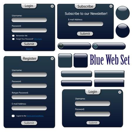 Imagen de un azul web formas, barras y botones aislado en un fondo blanco. Vectores