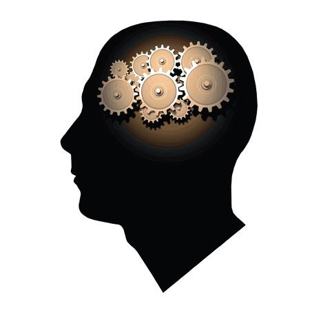cognicion: Imagen de engranajes dentro de la cabeza de un hombre aislada en un fondo blanco.