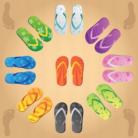 flop: Image of various colorful flip flops on a sandy background.