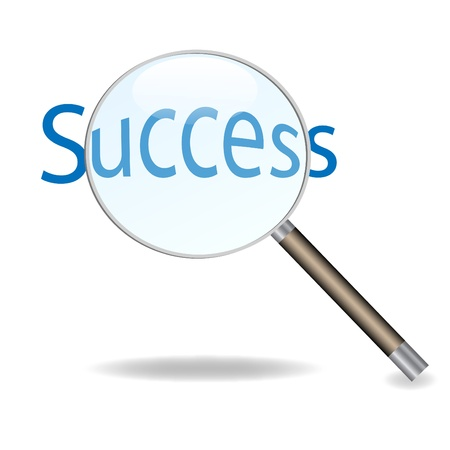 Image of a magnifying glass isolated on a white background focusing on the word Success. Stock Illustratie