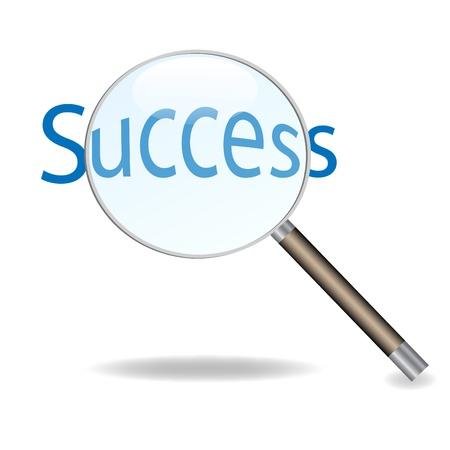 Imagen de una lupa aislada en un fondo blanco, centrándose en la palabra éxito.