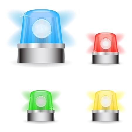 Beeld van diverse kleurrijke responderlichten die op een witte achtergrond worden geïsoleerd. Stockfoto - 9717567