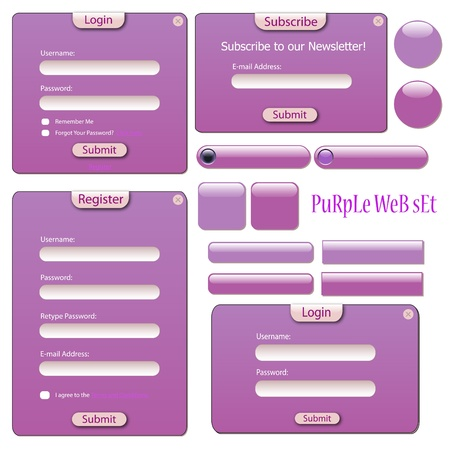 website buttons: Image of various web forms, bars and buttons isolated on a white background. Illustration