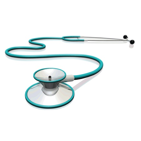 Image of a stethoscope isolated on a white background.