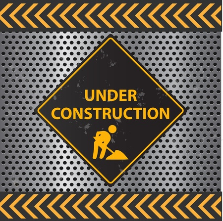 web site: Image of a Under Construction sign with a metallic background texture. Illustration