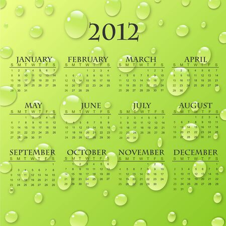 Image of a 2012 calendar with a colorful raindrop background. photo
