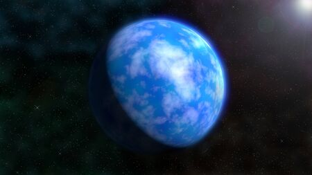 星の背景に青い地球のような惑星のイメージ。