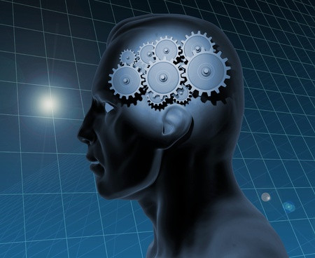 creative answers: Image of a gears inside of a mans head with a blue grid background.