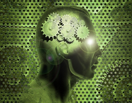 creative answers: Image of gears inside of a mans head with a rusty metal background. Stock Photo