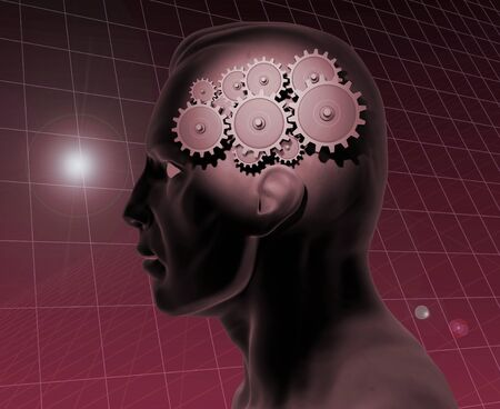 Image of a gears inside of a mans head with a blue grid background.