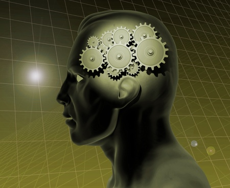 Image of a gears inside of a mans head with a blue grid background. photo
