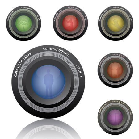 photo studio: Image of various colorful camera lenses isolated on a white background. Stock Photo