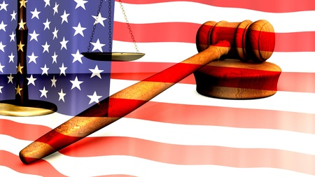 Image of a gavel and the flag of the United States of America. photo