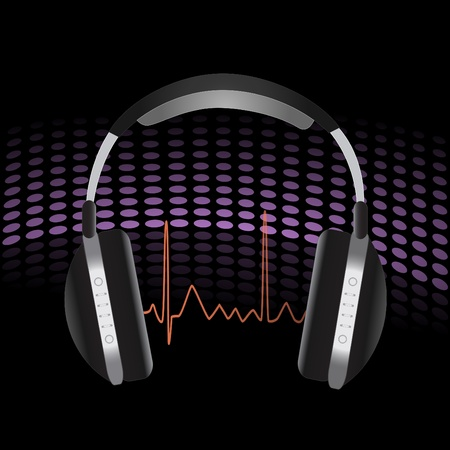 Image of headphones against a colorful abstract background.