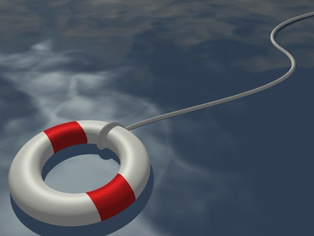 survive: Image of a life preserver floating on a blue ocean. Stock Photo