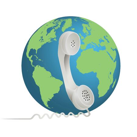 earpiece: Image of a phone illustration with the earth isolated on a white background. Stock Photo