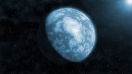 earthlike: Image of an earth-like planet against a background of stars. Stock Photo