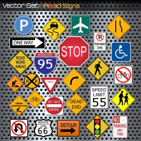 Image of various road signs against a metallic background.