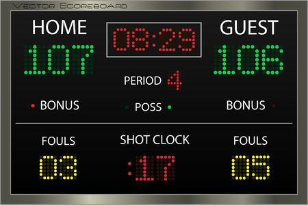 to score: Image of a basketball scoreboard. Stock Photo