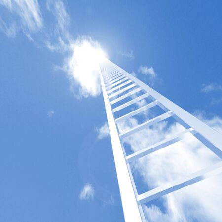 climbing ladder: Image of a ladder reaching up to the sky.