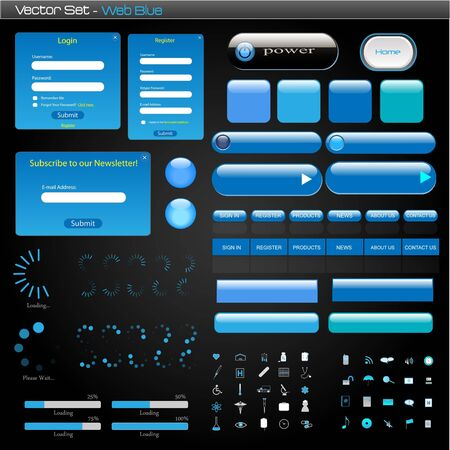 submit: Complete set of blue web items on a dark background.