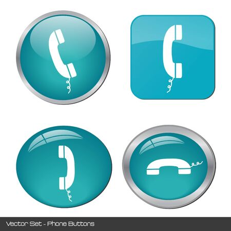 receiver: Image of various colorful phone buttons isolated on a white background. Stock Photo