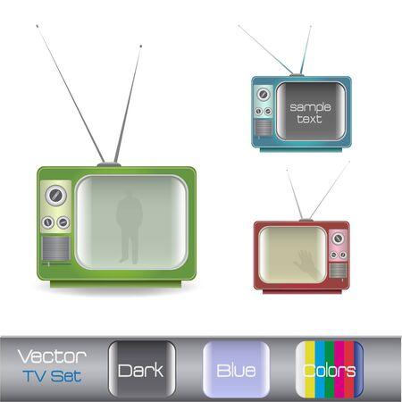 白い背景に分離された様々 なカラフルなレトロなテレビのイメージ。 写真素材