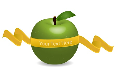 Image of an apple with a banner with editable text isolated on a white background. Stock Vector - 12487181