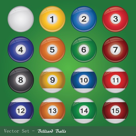 Image of colorful billiard balls on a green background.