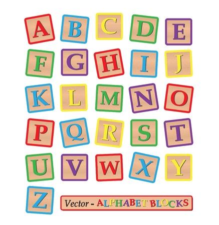 juguete: Imagen de varios bloques de colores con el alfabeto aislado en un fondo blanco. Vectores