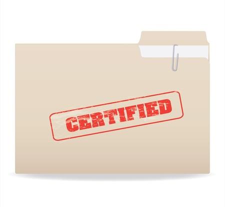 흰 배경에 고립 된 기밀 스탬프가있는 폴더의 이미지.