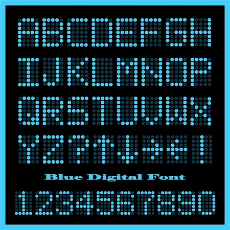 Image of a set of colorful blue alphabetic and numeric characters. Ilustração