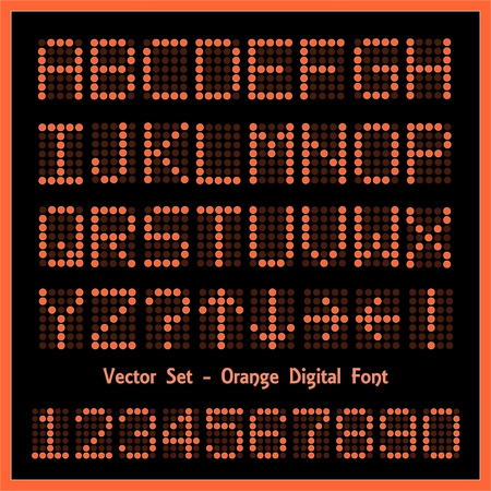 Image of colorful orange alphabetic and numeric characters.