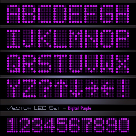 Image of a colorful, purple digital font set. Vector