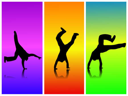 cartwheel: Image of various silhouettes flipping against a colorful background.