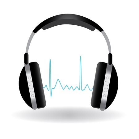Afbeelding van een hoofdtelefoon met geluid golf geïsoleerd op een witte achtergrond. Stock Illustratie