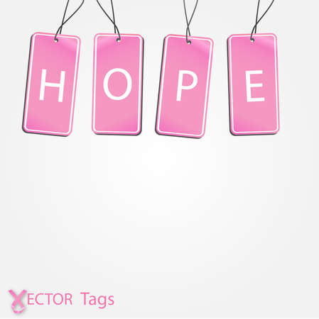 Image of tags with the message Hope isolated on a white background. Ilustracja